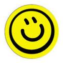 smiley button schuin | KleineButtons.nl